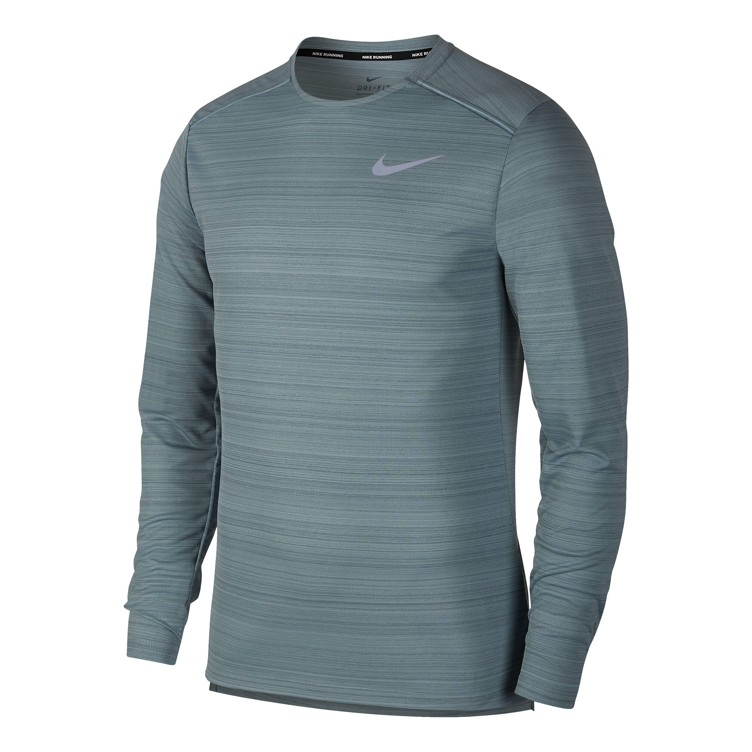 Nike Dri Fit Miler Running Longsleeve Herren Grau, Silber